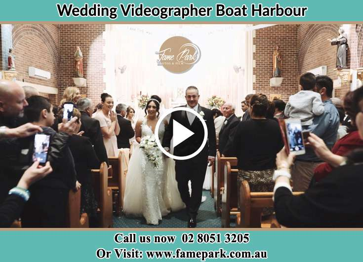 The Bride walking down the aisle with her father Boat Harbour NSW 2316