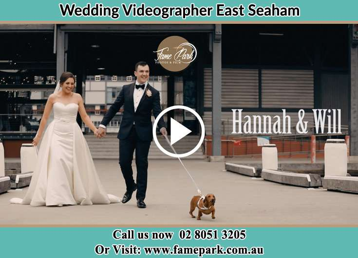 The Groom and the Bride walking with their dog East Seaham NSW 2324