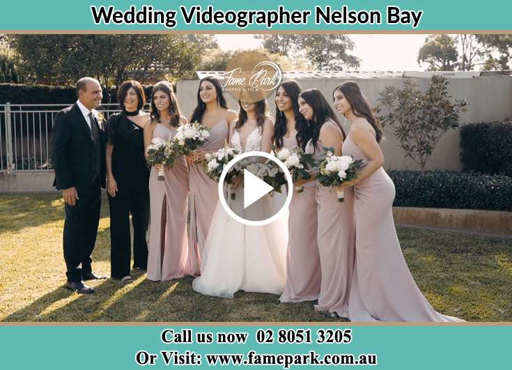 Bride and her secondary sponsors posed on camera Nelson Bay NSW 2315