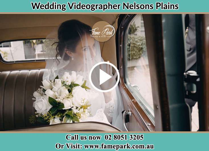Bride inside the wedding car Nelsons Plains NSW 2324