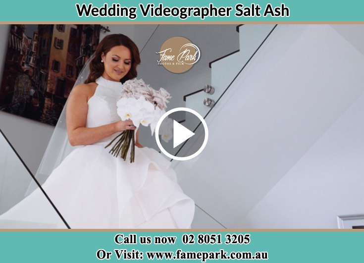 The Bride walking downstairs Salt Ash NSW 2318