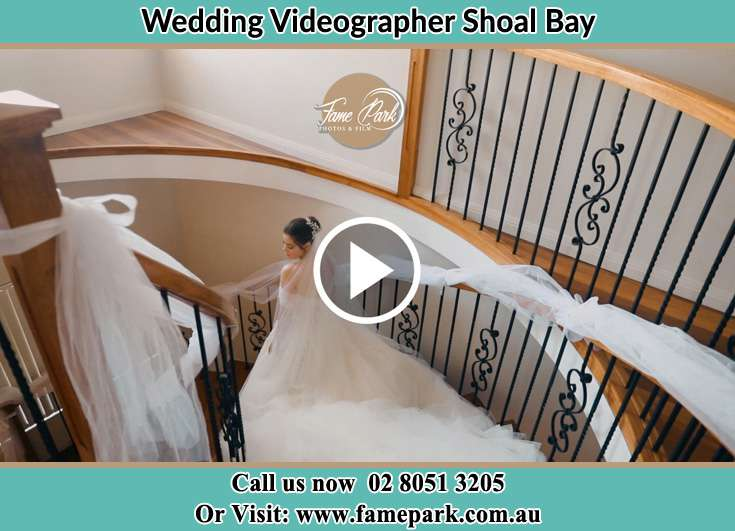 The Bride walking downstairs Shoal Bay NSW 2315